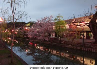 kurashiki merchant district at night, okayama prefecture