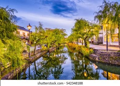 Kurashiki, Okayama, Japan old town canals.