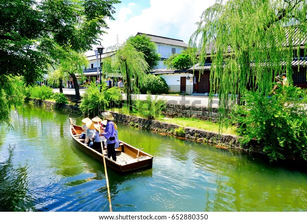 Kurashiki river in Kurashiki city. The preservative city of Okayama prefecture. Japan. Beautiful japanese old town with typical architecture.