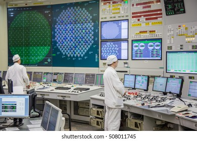 Kurchatov, Russia - JUNE 23, 2016: People inside the control room of the Kursk Nuclear Power Plant on June 23 2016, in Russia