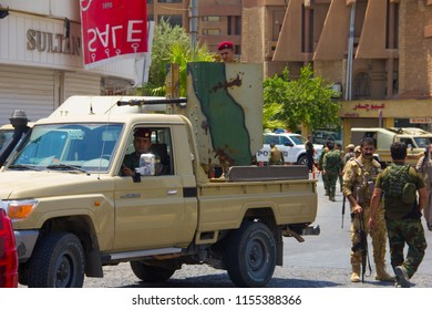 Kurdish Peshmerga block the road as Islamic State attacks government building Erbil, Iraqi-Kurdistan July 23th 2018