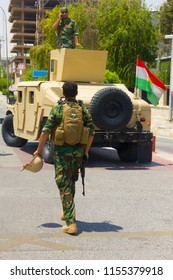 Kurdish Peshmerga blocks road outside Erbil's government building while its under Siege by Islamic State in Erbil, Iraqi-Kurdistan July 23th 2018