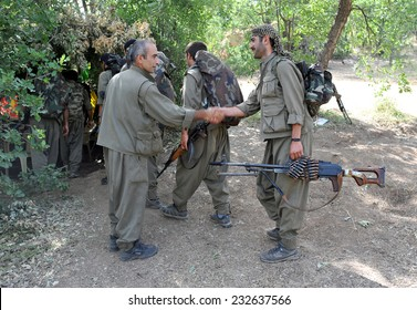 KURDISTAN, IRAQ - JUNE 06: Militants in the Qandil Mountains, A group of PKK (The Kurdistan Workers'Party) militants are on the move on June 06, 2013 in Qandil, Iraq.