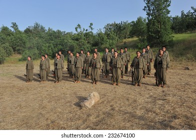 KURDISTAN, IRAQ -  JUNE 22:Militants in the Qandil Mountains, PKK (The Kurdistan Workers� Party) militants on June 22, 2013 in Kurdistan, Qandil, Iraq.
