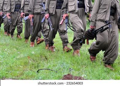 KURDISTAN, IRAQ - MAY 14: PKK (The Kurdistan Workers Party)  militants crossed the border to the Iraqi soils. on May 14, 2013 in Kurdistan, Iraq.