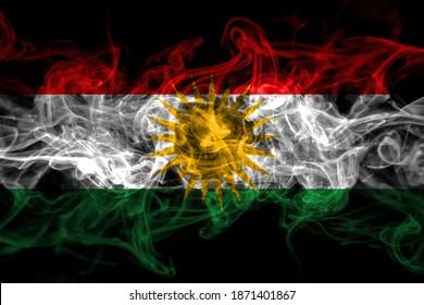 Kurdistan, Kurdish, Kurds smoke flag isolated on black background
