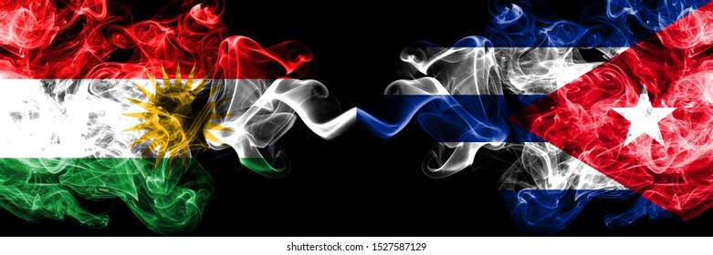 Kurdistan vs Cuba, Cuban smoke flags placed side by side. Thick colored silky smoke flags of Kurds and Cuba, Cuban