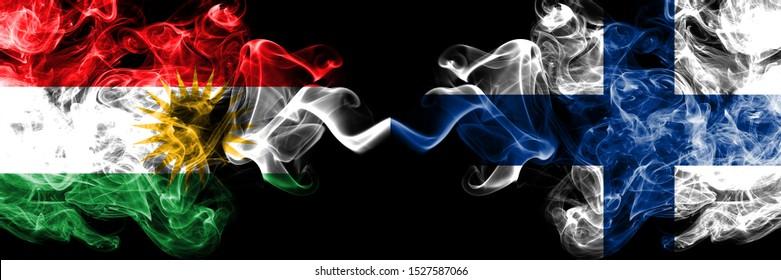 Kurdistan vs Finland, FInnish smoke flags placed side by side. Thick colored silky smoke flags of Kurds and Finland, FInnish