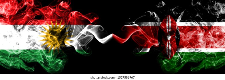 Kurdistan vs Kenya, Kenyan smoke flags placed side by side. Thick colored silky smoke flags of Kurds and Kenya, Kenyan