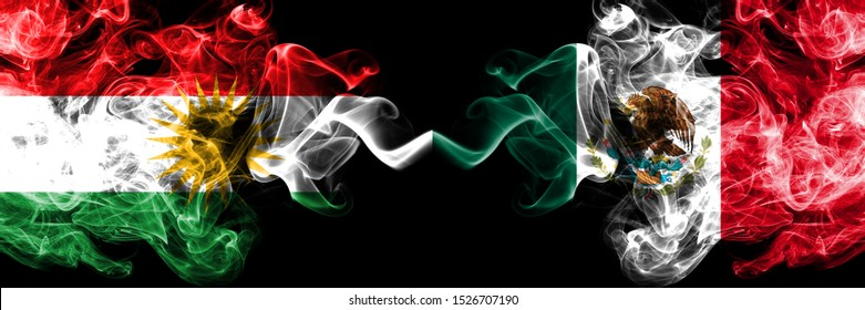 Kurdistan vs Mexico, Mexican smoke flags placed side by side. Thick colored silky smoke flags of Kurds and Mexico, Mexican