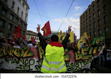 Kurds celebrating their traditional feast Newroz that means 'new day' in kurdish on March 21, 2016 in Milan, Italy