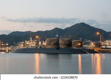 Kure,Hiroshima,Japan,November2018 : Japanese submarine are docking at Kure JMSDF naval port