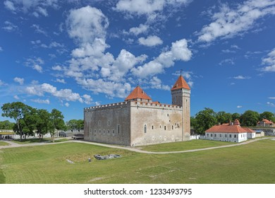 KURESSAARE, ESTONIA - JUNE 22, 2017: The convent building of the Kuressaare Episcopal Castle on Saaremaa island. The first written message about the Kuressaare Castle dates back to 1381.