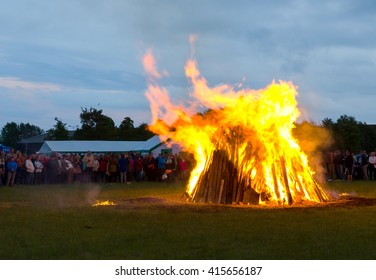 KURESSAARE, ESTONIA - JUNE 23, 2015: Bonfire of St John's Eve.