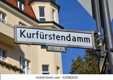 Kurfurstendamm  is one of the most famous avenues in Berlin, Germany. Road sign