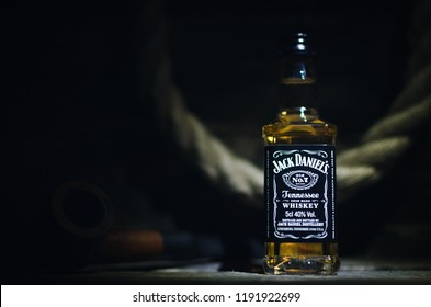 Kurgan, Russia September 30,2018 Jack Daniels bottle old number 7 on the retro style table.