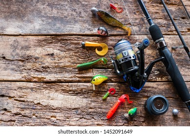 Kurgan, Russia-June 19, 2019 fishing tackle, bait, spinning on a wooden background