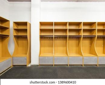 Kurganovo, Russia - April 29, 2014:   an empty locker room in the sports club, school, section