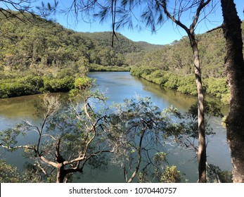 KU-RING-GAI CHASE NATIONAL PARK, SYDNEY, AUSTRALIA - 30 MARCH 2018 -Warrimoo Track Lookout over the Cowan Creek (landscape)
