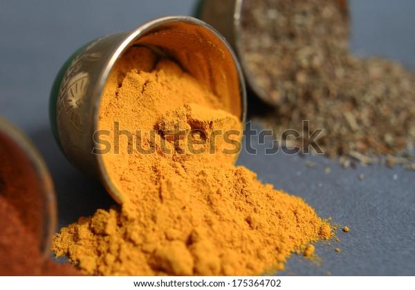 Kurkuma spices in the nice metal cup