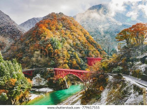 黒部峡谷鉄道赤い橋(日本)黒部市(富山県)紅葉