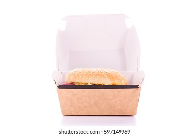 Kurobuta pork spicy burger in box on white background.