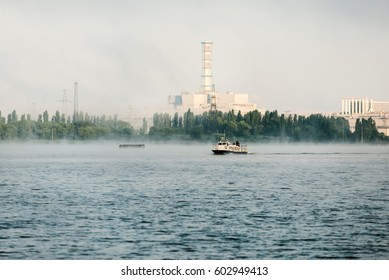 Kursk NPP. View from the technological cooling pond. Early foggy morning.