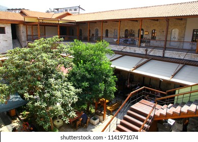KURSUNLU HAN, ANTAKYA, TURKEY - 20 July 2018. Kursunlu Han is a historical caravanserai which has been recently restorated and opened to public in the old district of Antakya.