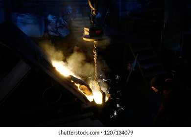 Kurtkoy, Istanbul/Turkey-November 3, 2017: the casting  of metal requires high temperature Owen and melting makes lights like fireworks in Istanbul.