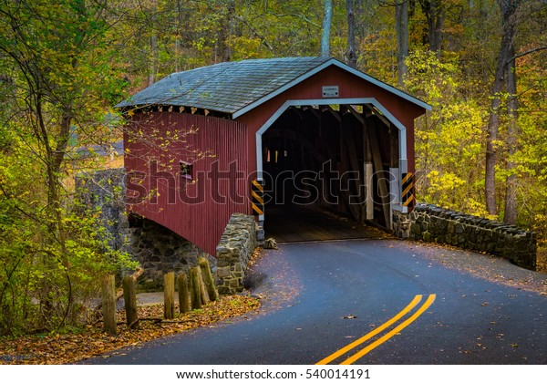The Kurtz Mill Covered Bridge in the Lancaster County Central Park in fall.