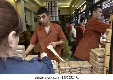 Kurukahveci Mehmet Efendi Coffee Shop by the Spice Bazaar in Eminonu ,Istanbul,Turkey,June 2014