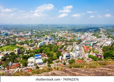 Kurunegala city aerial panoramic view from Samadhi Buddha statue viewpoint on top of the Elephant rock, Sri Lanka