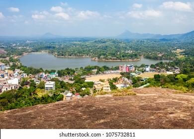 Kurunegala lake and city aerial panoramic view from Samadhi Buddha Statue viewpoint on top of the Elephant rock, Sri Lanka