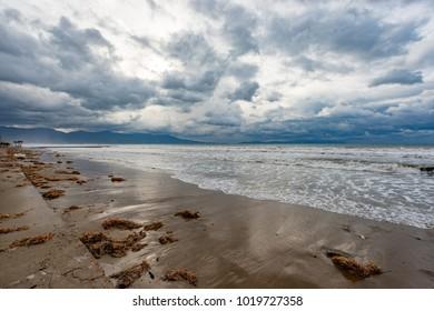 Kusadasi, Aydin - Turkey. January 18, 2018. Windy weather and Long Beach in Kusadasi, Aydin - Turkey.