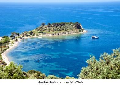 Kusadasi, bird island on the turkish coast of the mediterranean sea