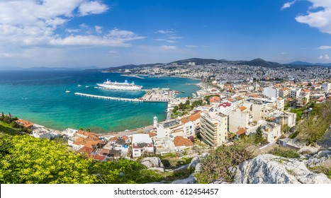 Kusadasi Harbour and Pigeon Island view from mountain