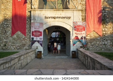 Kusadasi, izmir/Turkey: June 7, 2019: caravanserai is near the port of Kusadasi. It was built by the vizier Okuz Mehmed Pasha in 1618 and was restored 1966. Kusadasi, Turkey