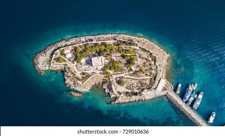 Kusadasi Pigeon Island known as Guvercinada drone view