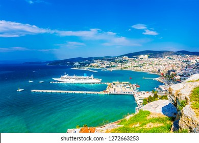 Kusadasi Town panorama near Aegean Sea