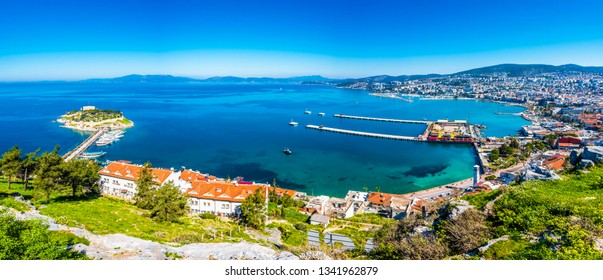 Kusadasi Town panoramic view in Turkey