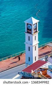 Kusadasi, Turkey - April 13, 2019 : The clock tower view in Kusadasi Town of Turkey