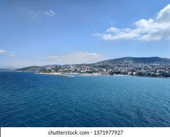 KUSADASI, TURKEY - APRIL 17, 2019: view on the coast line from the ship deck