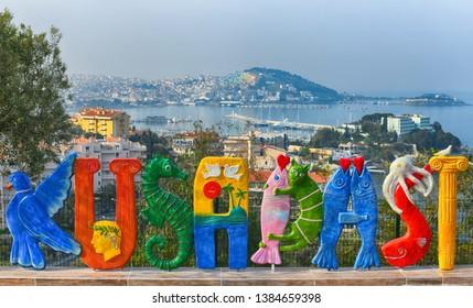 KUSADASI, TURKEY - APRIL, 2019: Kusadasi colorful text sculpture in Kusadasi, Turkey