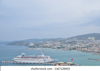 Kusadasi, Turkey - April, 2019: Kusadasi Port. Every day, cruise ships and many tourists come to Kusadasi, which is the most popular holiday center of the Aegean, and for the ancient city of Ephesus.