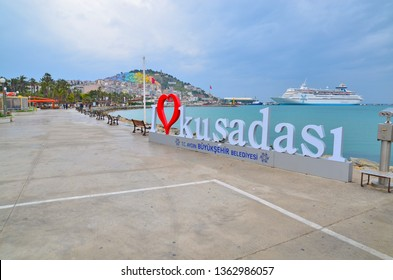 KUSADASI, TURKEY. APRIL 2019.Promenade in Kusadasi, Turkey, south coast of the Aegean Sea
