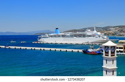 Kusadasi, Turkey - July, 2016: Kusadasi Port. Every day, cruise ships and many tourists come to Kusadasi, which is the most popular holiday center of the Aegean, and for the ancient city of Ephesus.
