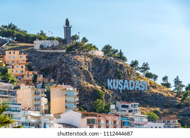 Kusadasi, Turkey - June 13, 2018 : Ataturk Statue view in Kusadasi. Kusadasi is populer tourist destination in Turkey.