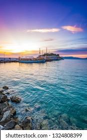 Kusadasi, Turkey - June 2, 2014: A sunset view of Pigeon Island in Kusadasi.