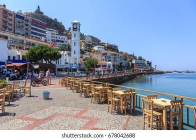 KUSADASI, TURKEY. JUNE 2017.Promenade in Kusadasi, Turkey, south coast of the Aegean Sea