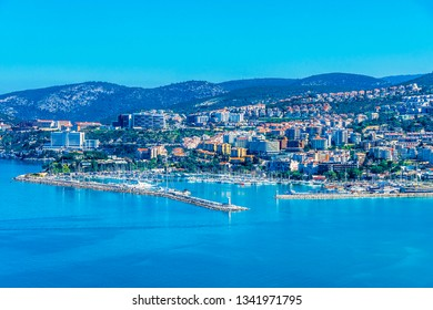 Kusadasi, Turkey - March 17, 2019 : Kusadasi Town view from hill in Turkey